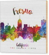 Fresno California Skyline 23 Wood Print