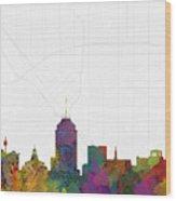 Fresno Cityscape And Streetmap Skyline Wood Print