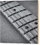 Fret Board In Black And White Wood Print