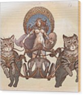 Freya And Her Cat Chariot-nude Version Wood Print