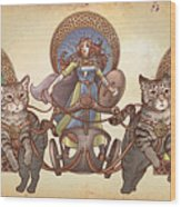 Freya Driving Her Cat Chariot - Triptic Garbed Version Wood Print
