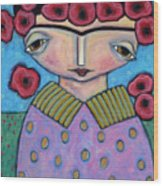 Frida In The Blooms Wood Print