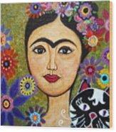Frida Kahlo And Cat Wood Print