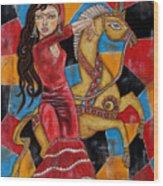 Frida Kahlo Dancing With The Unicorn Wood Print