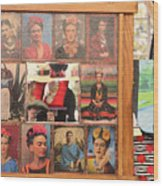 Frida Kahlo Display Picts Wood Print
