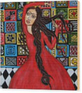 Frida Kahlo Flamenco Dancing  Wood Print by Rain Ririn