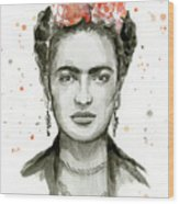 Frida Kahlo Portrait Wood Print