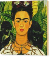 Frida Kahlo Self Portrait With Thorn Necklace And Hummingbird Wood Print by Pg Reproductions