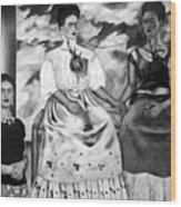 Frida Kahlo Shown With Her Painting Me Wood Print