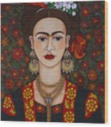 Frida Kahlo With Butterflies Wood Print