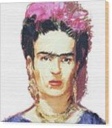 Frida Wood Print by Russell Pierce