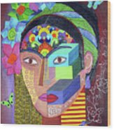 Frida Whit Floers Wood Print