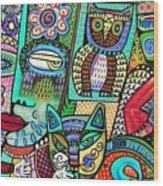 -frida's Garden Owl And Cat Wood Print