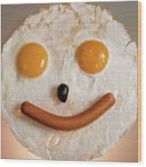 Fried Breakfast Of Eggs And Sausage Made Into A Smiling Face Wood Print