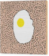 Fried Egg And Spaghetti In Tomato Sauce Wood Print