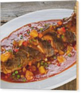 Fried Whole Fish In Sauce With Fruit And Vegetables In White Ser Wood Print