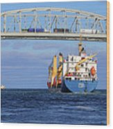 Frieda And Blue Water Bridge Wood Print