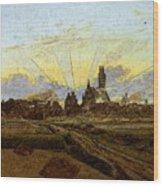 Friedrich Caspar David Neubrandenburg In Flames Wood Print