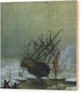 Friedrich Caspar David Wreck By The Sea Wood Print