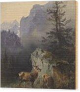 Friedrich Gauermann  Red Deer At The Watering Hole Wood Print