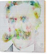 Friedrich Nietzsche - Watercolor Portrait.7 Wood Print
