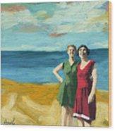 Friends On The Beach Wood Print