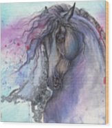 Friesian Horse 2015 12 24 Wood Print