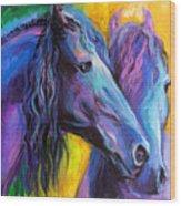 Friesian Horses Painting Wood Print