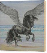 Friesian Pegasus Wood Print