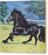 Friesian, Run Like The Wind Wood Print