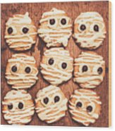 Frightened Mummy Baked Biscuits Wood Print
