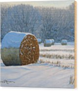 Frigid Morning Bales Wood Print