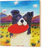 Frisbee Dog Wood Print by Harriet Peck Taylor