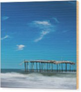 Frisco Fishing Pier In North Carolina Panorama Wood Print