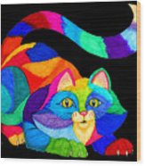Frisky Cat Wood Print