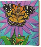 Frog And Butterfly Wood Print