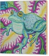Frog And Flower Wood Print