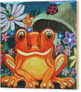 Frog and flowers Wood Print