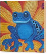 Frog And Lady Bug Wood Print