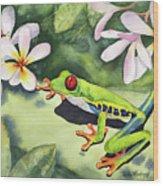 Frog And Plumerias Wood Print