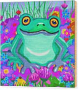 Frog And Spring Flowers Wood Print