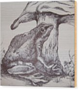 Frog And Toadstool Wood Print