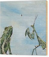 Frog Fly And Mantis Wood Print by Fabrizio Cassetta