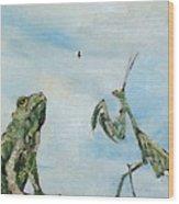 Frog Fly And Mantis Wood Print