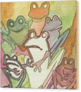 Frog Group Portrait Wood Print