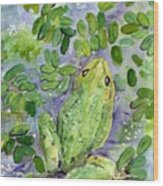Frog In The Pond Wood Print