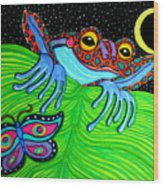 Frog Moon And Butterfly Wood Print