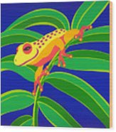 Frog On Branch Wood Print