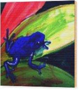 Frog On Leaf Wood Print