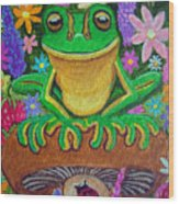 Frog On Mushroom Wood Print